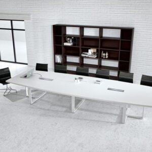 Белый стол для переговорной CONSENSUS